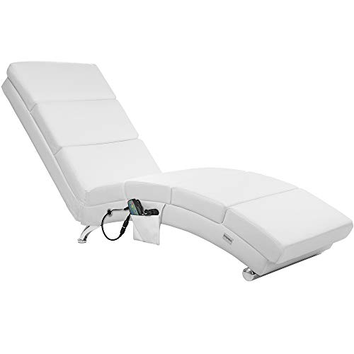 Casaria lounge chair London with heating & massage function White synthetic leather Ergonomic living room Lounge chair Lounge chair