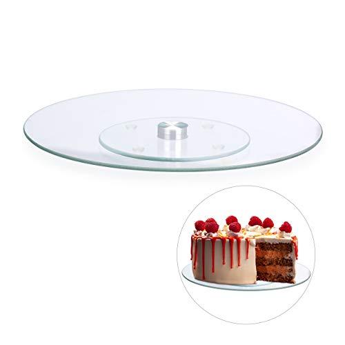 Relaxdays Tortenplatte, 360º drehbar, ∅ 30 cm, zum Servieren & Dekorieren, Kuchen, runder Drehteller, Glas, transparent