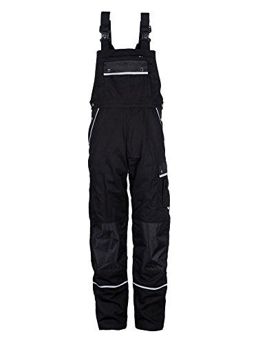 TMG® Arbeitslatzhose Herren, Lange Arbeitshose mit Latz und Kniepolstertaschen Schwarz 50