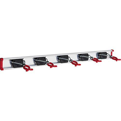 BRUNS Alu-Gerätehalter-Set, inkl. 5 Geräte-Haltern und Führungs-Schiene, Länge: 750 mm