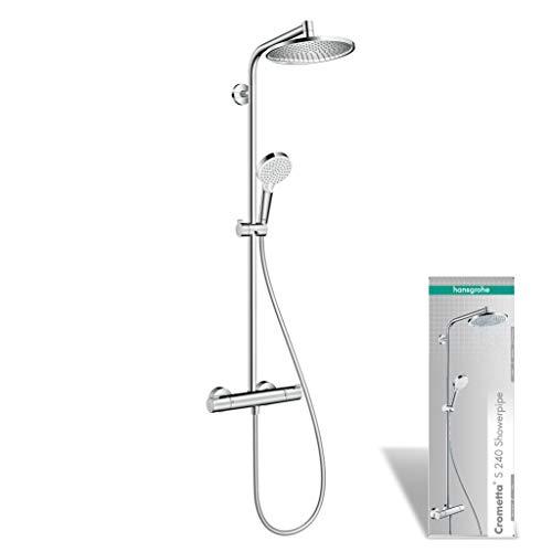 hansgrohe Duschsystem Crometta S 240 (Regendusche, Duschset mit 2 Strahlarten, Duschkopf mit Schlauch, Duschstange und Duscharmatur) chrom