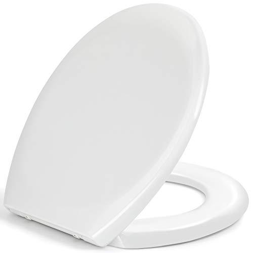 Toilettendeckel, WC Sitz mit Absenkautomatik, schnellverschluss für leichte Reinigung, einfache Montage Antibakteriell Klodeckel aus Duroplast, O Form Weiß...