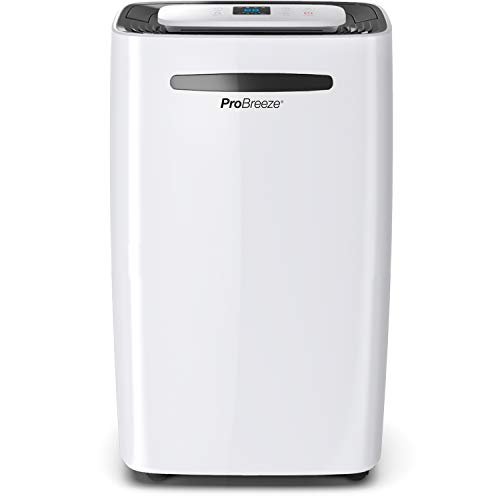 Pro Breeze dehumidifier 20L in 24h Dehumidification performance - Room size approx. 195m³ (~ 30 m²) - with 4 operating modes, digital display, drain hose, ...