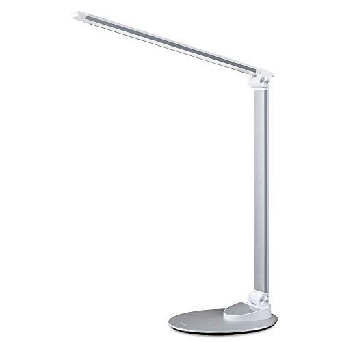 Miroco LED Schreibtischlampe mit USB-Ladeanschluss, Ultradünn Tischlampen aus Aluminiumlegierung, 5 Farbtemperaturen, 5 Helligkeitsstufen, Augenpflege, Langer...