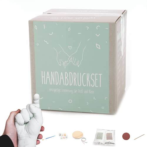 Handabdruck Set für Paare oder die Familie 👨👨👧👧 All-in-one 3D Handabformset aus Gips für Erwachsene und Kinder [inkl. Farben, 450 Gramm...