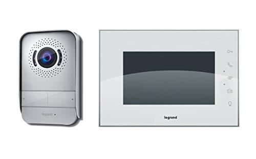 Legrand, Video-Türsprechanlage mit 2-Draht-Anschluss, 7 Zoll Hochglanz-Farbmonitor und Weitwinkelkamera, 1-/2-Familienhaus-Set, 369230