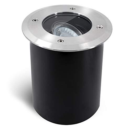 SSC-LUXon JUAVI Bodeneinbaustrahler aussen schwenkbar GU10 IP67 - mit LED GU10 3W warmweiß 230V - Bodenspot befahrbar rund