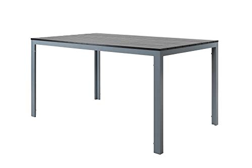 Chicreat Garden Dining Table, Silver/Grey, Aluminium/Artificial Wood, 150 x 90 cm