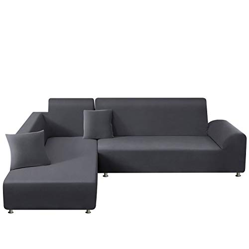 TAOCOCO Sofa Überwürfe Sofabezug Elastische Stretch für L-Form Sofa Abdeckung 2er Set für 3 Sitzer + 3 Sitzer mit 2 Stücke Kissenbezug (Hellgrau)
