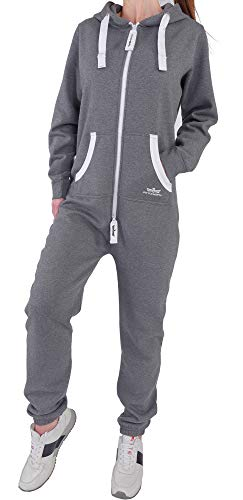 DI5 Finchgirl Damen Jumpsuit Jogging Anzug Trainingsanzug Overall Dunkelgrau M