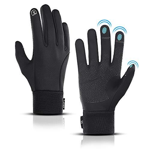 LERWAY Winter Warme Handschuhe, Touchscreen Winterhandschuhe Herren Damen Fahrradhandschuhe Sport Winddichte Handschuhe MTB Handschuhe Schwarz zum Radfahren, Laufen,...