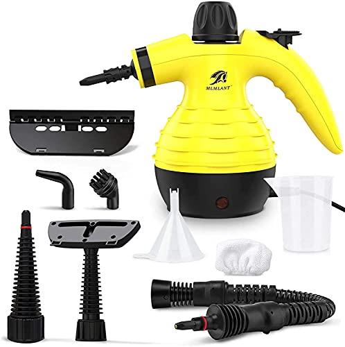 MLMLANT Handgerät Dampfreiniger 350ML Wassertank mit Handdampfreiniger Kabellos Druck mit 9-teiliges Zubehör für, Teppiche,Vorhänge,Autositze,Küche,olstermöbel...