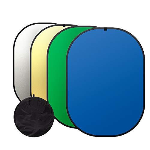 Heorryn 4-in-1 Greenscreen,150 * 200cm faltbar wendbar Chromakey Fotohintergrund mit Tragetasche, 100% Baumwolle, Musselin (Grün&Blau)