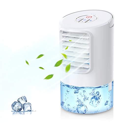Mobile Klimageräte, Mini Persönliche Klimaanlage, 4 in 1 Luftkühler Luftbefeuchtung Ventilator Nachtlicht, 2 Timer 3 Leistungsstufen 7 Verschiedene Farben, Ideal...
