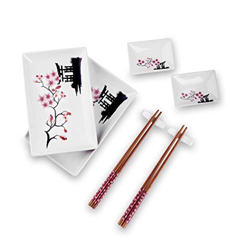Panbado 8-teilig Porzellan Japanisch Sushi Set, japanische Sushi Service Geschirrset für 2 Personen, Beinhaltet Sushi Teller, Schalen, Soßenschälchen und...