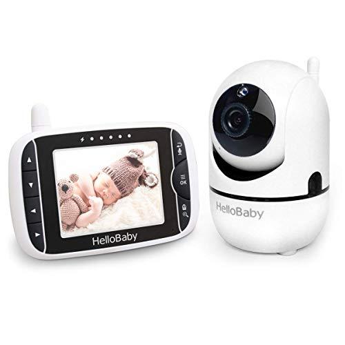 HelloBaby Babyphone mit Kamera Ferngesteuerter Pan-Tilt-Zoom und 3,2-Zoll-LCD-Bildschirm, Infrarot-Nachtsicht, Temperaturanzeige, Schlaflieder, Zwei-Wege-Audio, mit...