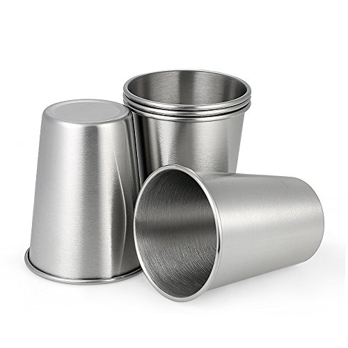 Decdeal 5 pieces stainless steel mug stainless steel mug stackable mug 350ml
