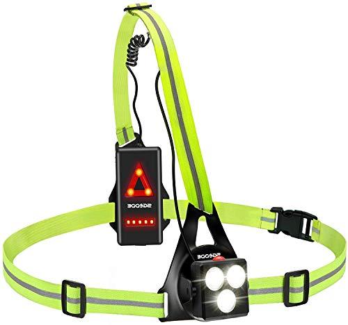 SGODDE Lauflicht,wiederaufladbare USB LED Lauflampe,Brust Lampe wasserdicht Outdoor Sport,70° Einstellbarer Abstrahlwinkel,530 Lumen, 360° reflektierendes...
