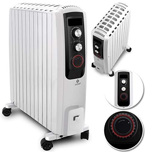 KESSER® 2500W Ölradiator - elektrischer, energiesparender Heizkörper mit 10 Rippen, Timer integrierter Zeitschaltuhr 4 Heizstufen Thermostat...
