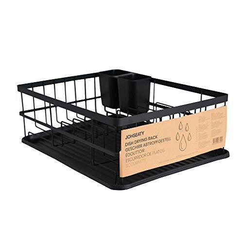 JOHSEATY Geschirr Abtropfgestell Matt Schwarz Metall (42x31,5x15,5cm) Geschirrkorb für Spüle mit Besteck Halterung und Abtropfschale aus Plastik für die Ablage...