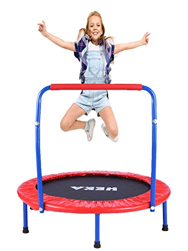 HEKA Trampolin Kinder, Mini-Trampolin 92 cm für Drinnen,Klappbar Fitness Kindertrampolin Indoor Outdoor, Fitness Trampolin mit Griff und Schutzhülle, mit...