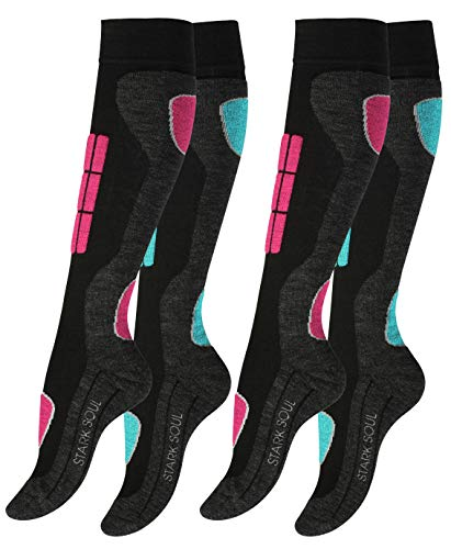 2 pairs of original VCA® SKI functional socks, winter sports socks with special padding, size 39/42, pink / turquoise
