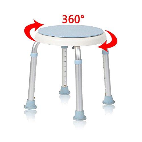 MCTECH Duschhocker Duschstuhl Badehocker Höhenverstellbar Badhocker 360° Drehbar Duschhilfe Duschsitz Badsitz aus Alu und Kunststoff für Alter, Schwangere aus