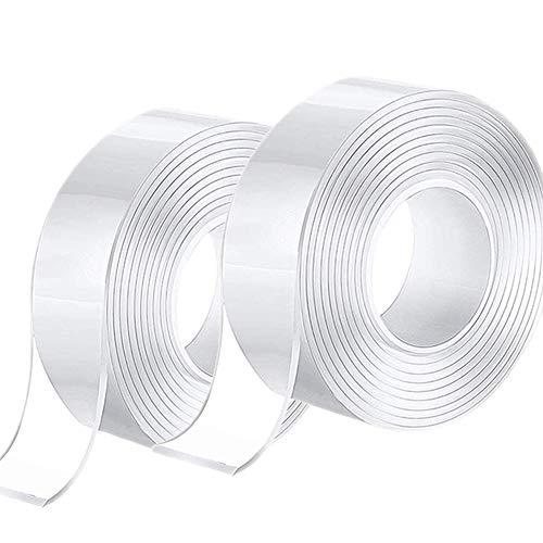 Doppelseitiges Klebeband Extra Starkes, Entfernbares Klebeband Doppelseitiges, Abwaschbares, Transparentes, Spurlos Nano-Klebeband für Zuhause (6M)