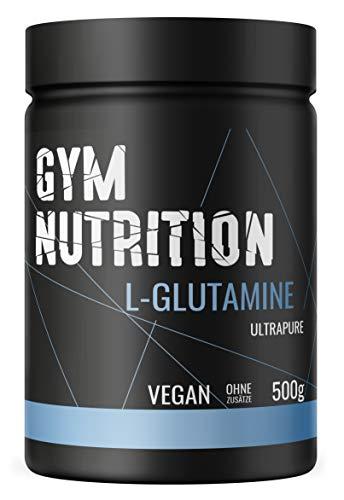 GYM-NUTRITION L-GLUTAMIN Ultrapure Pulver extra hochdosiert & 99,5 % rein proteinogene Alpha-Aminosäure, vegan – ideal für Body-Builder Made in Germany 500-g,...