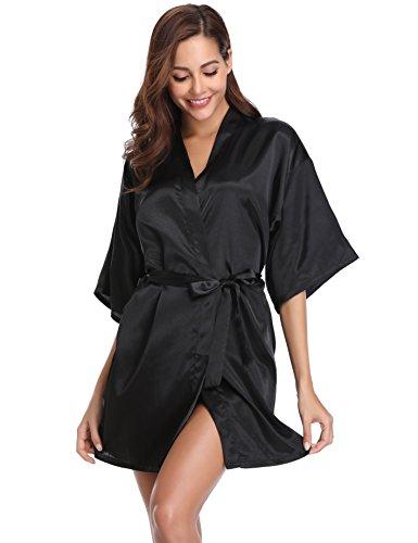 Vlazom Kimono Robe Damen Morgenmantel Kurzer Satin Bademantel Mit Gürtel V-Ausschnitt Kimono(M,Schwarz)