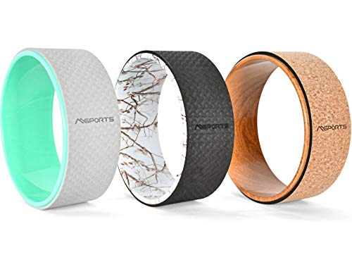 MSPORTS Yoga Wheel - Premium - Hilfsmittel bei Yoga-Übungen | Yoga Rad (Holz - Kork)