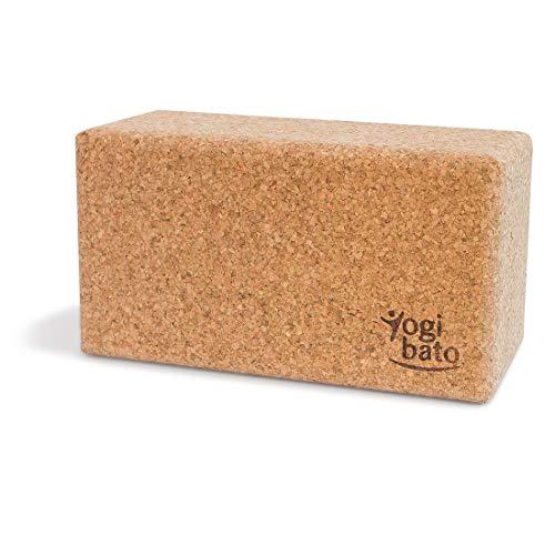 Yogibato Yogablock Kork stabil & rutschfest   Yoga Block 1er Pack   Natur Korkblock für Yoga und Fitness – Pilates & Hatha Klotz – Cork Brick – Yogaklotz 100%...