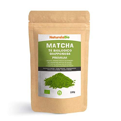 Matcha Tee Pulver Bio [Premium-Qualität] 100g. Original Green Tea aus Japan. Japanischer Matcha ideal zum Trinken. Grüntee-Pulver für Latte, Smoothies,...