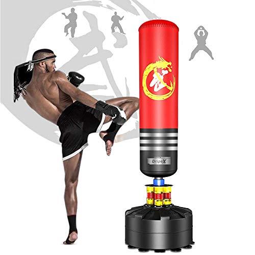 Dripex Boxsack Erwachsene Freistehender Standboxsack MMA Boxpartner Boxing Trainer Heavy Duty Boxsack mit Saugfuß, mehrere Farbe (175cm Rot)