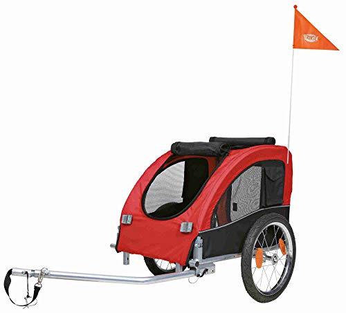 Trixie 12814 Fahrrad-Anhänger, M: 63 × 68 × 75/137 cm, schwarz/rot