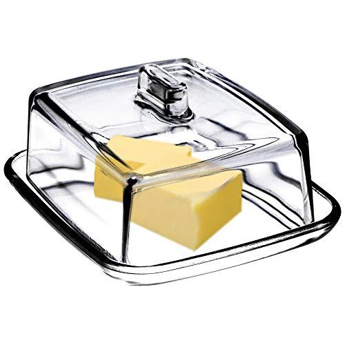 KADAX Butterdose aus Glas, rechteckige Butterglocke, klare Butterschale mit Deckel und Griff, Butterbehälter, Butterschatz, Butterglas, spülmaschinenfest...