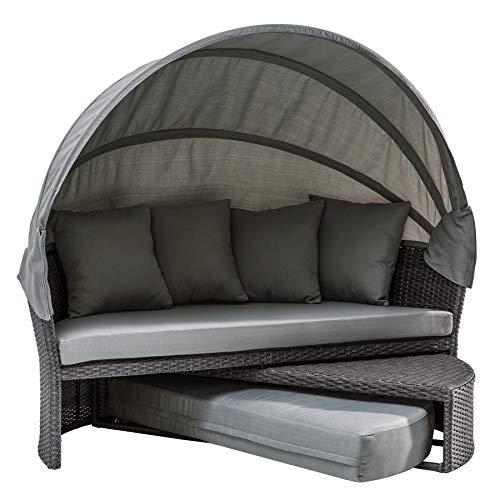 Invicta Interior Wandelbare Sonneninsel Playa Living M 165cm grau inkl. Kissen und drehbarer Sitzfläche Outdoor fähig Gartenmöbel Sonnenliege Gartenliege mit Dach...