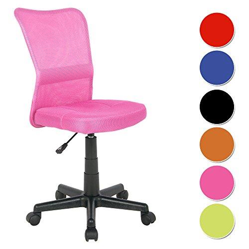 SixBros. Bürostuhl,Schreibtischstuhl, Drehstuhl für's Büro oder Kinderzimmer, stufenlos höhenverstellbar, Schreibtischstuhl für Kinder aus Stoff, pink,...