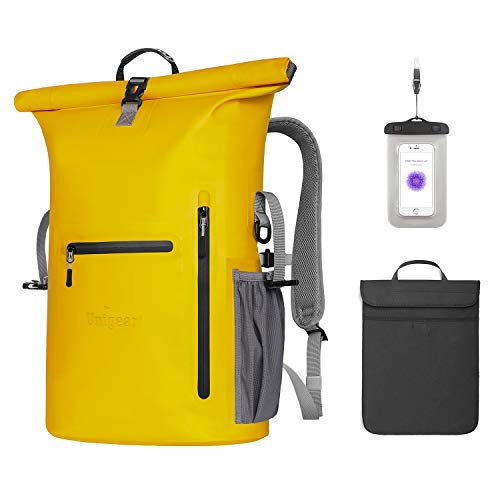 Unigear Wasserdichter Rucksack 35L, mit Laptophülle+Handytasche, Dry Bag Wasserdichter Packsack, 58x34x19cm, für Alltag Boot Kajak Angeln und Rafting, MEHRWEG