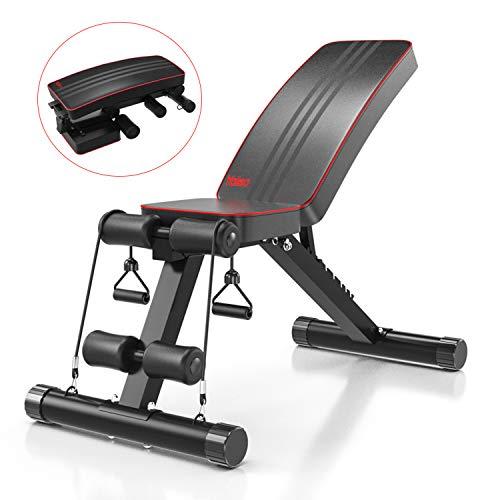 Yoleo Klappbare Hantelbank, Multifunktion Training Fitness Bank, 2 in 1 Sit-ups Bank mit hochwertigem dickem Polster / 7-Fach Verstellbarer Rückenlehne/Elastisches...