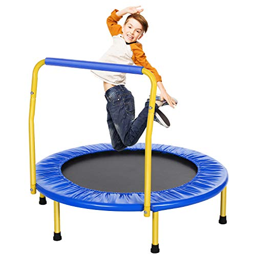 ANCHEER trampoline kids mini trampoline for indoor, foldable fitness kids trampoline indoor, kids mini trampoline with handle, with handle load up to 75kg