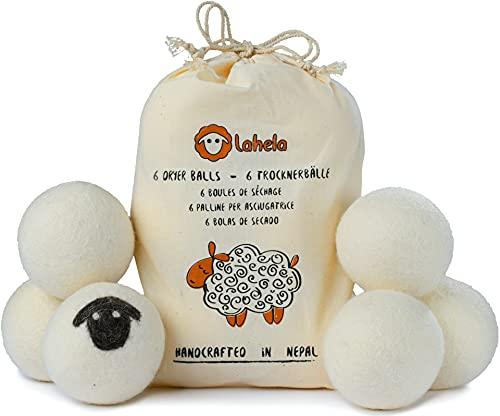 LAHELA® Trocknerbälle für Wäschetrockner - 6 Stück. Weiche Wäsche und energiesparend. Weichspüler Ersatz Schafwolle ohne Chemie und Kunststoff. Handgemacht in...