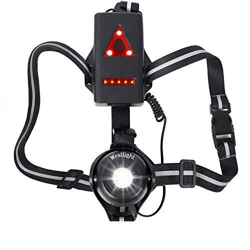 WESTLIGHT Lauflicht,wiederaufladbare USB LED Lauflampe Sport,wasserdicht,leichtgewichtige Lampe zum Laufen,500 Lumen,Einstellbarer Abstrahlwinkel,perfektes Licht zum...