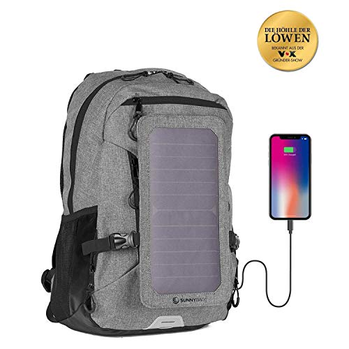 SunnyBAG Explorer + solar backpack with removable 6 watt solar panel | USB port | Including laptop compartment for 15,6 inch notebook | 15 liters | Water repellent | ...