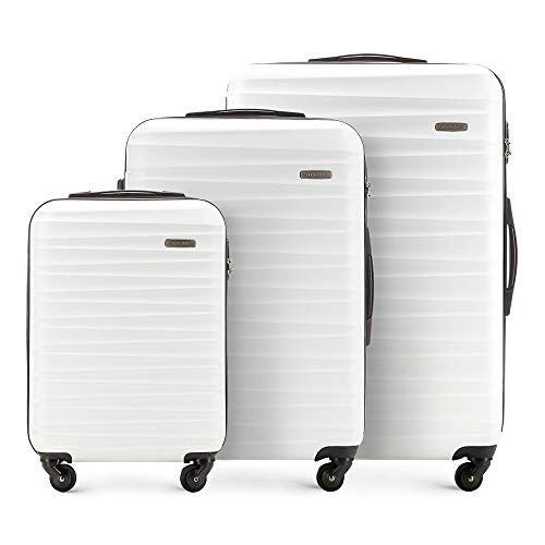 Stabiler Koffer-set 3tlg. Trolley Koffer Reisekoffer von Wittchen Weiß ABS Hartschalen kofferset Trolley 4 rollen Kombinationsschloss