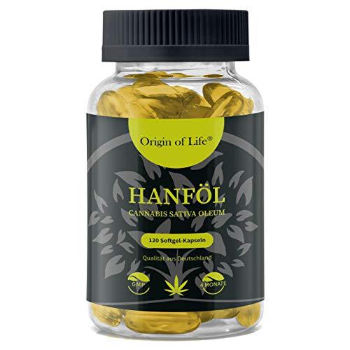 HANFÖL Kapseln - hochdosiert & kaltgepresst | Cannabis Sativa | echte 1000mg je Kapsel | Laborgeprüft | pflanzliche Omega 3 6 + 9 - Hanfsamenöl | Hergestellt in...