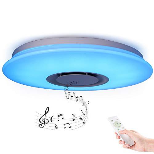 Horevo Deckenleuchte Bluetooth Lautsprecher mit APP Fernbedienung CE-zertifiziert 24W Farbwechsel Dimmbar 3000-6500 Kelvin Musik Deckenlampe Kinderzimmer Wohnzimmer...