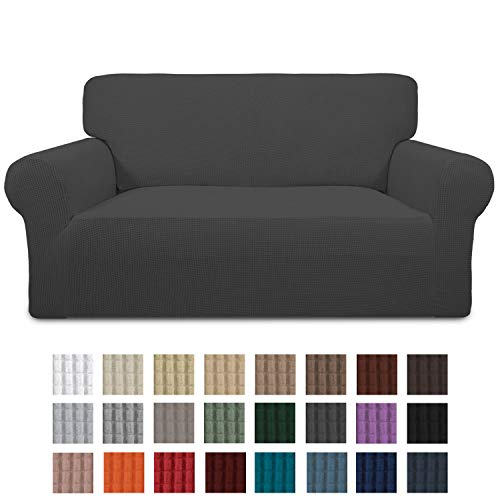 Greatime stretch sofa cover sofa cover furniture protection sofa cover couch cover couch shield sofa covers soft with elastic foam strips (dark gray, 2-seater)