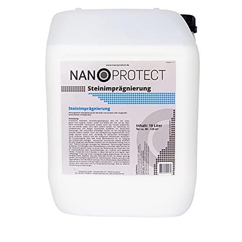 Nanoprotect Steinimprägnierung   Profi Qualität   Vorbeugend gegen Grünbelag und Einschmutzung   10 L für ca. 80-120 m²