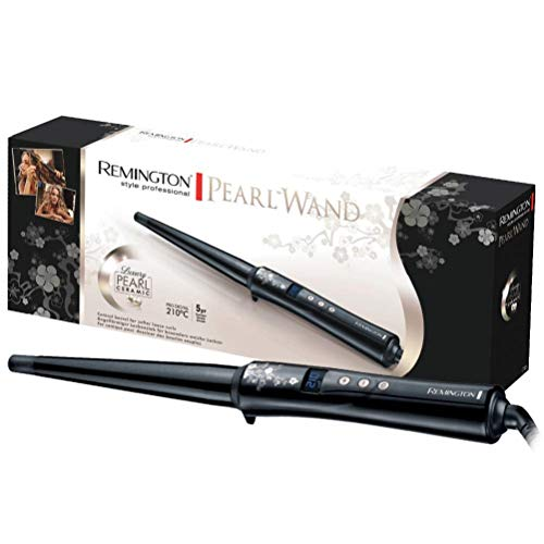 Remington Curling Iron Pearl Professional CI95, cone-shaped, LCD display, high-quality ceramic coating with real pearls, black